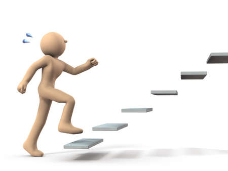 A character that begins to climb stairs. It represents the first step and challenge. White background. 3D illustration.