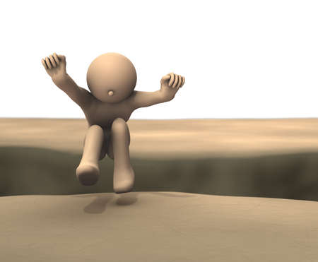 The character jumped over a gap in the desert. 3D illustration. Reklamní fotografie