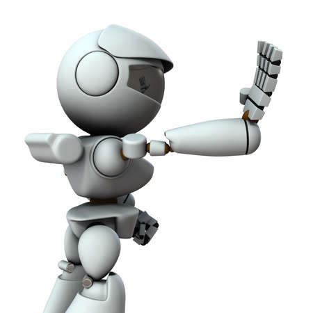 The artificial intelligence robot sticks out one hand forward. It represents rejection. White background. 3D illustration. Foto de archivo - 131460552