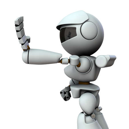 The artificial intelligence robot sticks out one hand forward. It represents rejection. White background. 3D illustration. Foto de archivo - 131460557