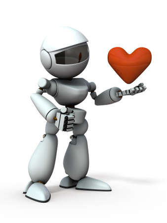 An artificial intelligence robot with a heart in hand. White background. 3D illustration.