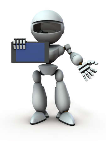 Artificial intelligence robots use tablet devices to present something. White background. 3D illustration. 写真素材