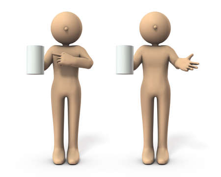 Characters with a cup. He is introducing recommended drinks. White background. 3D illustration.