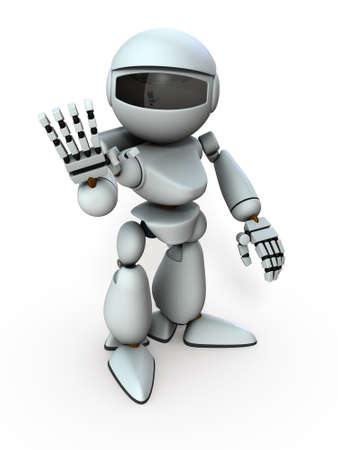 An artificial intelligence robot that greets with one hand. It represents his kindness. White background. 3D illustration. Stockfoto