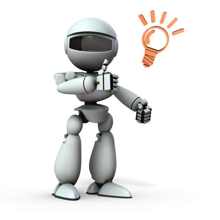 Artificial intelligence robot that thumbs up. White background. 3D illustration. 写真素材