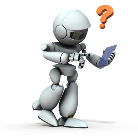 An artificial intelligence robot that controls smartphones while walking. White background. 3D illustration.