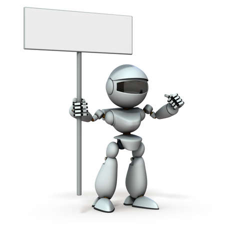 Insist on artificial intelligence robot. He has a sign. White background. 3D illustration.