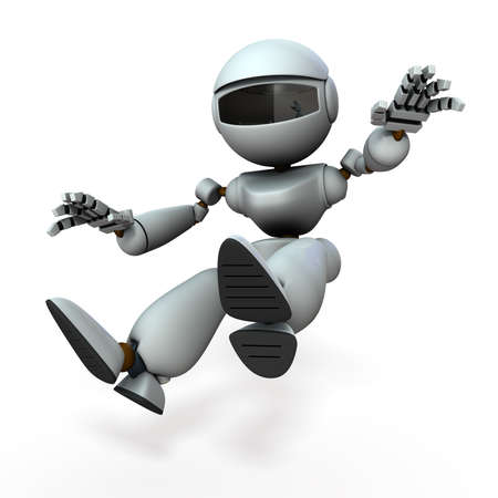 An artificial intelligence robot that surprises and moves back. White background. 3D illustration.