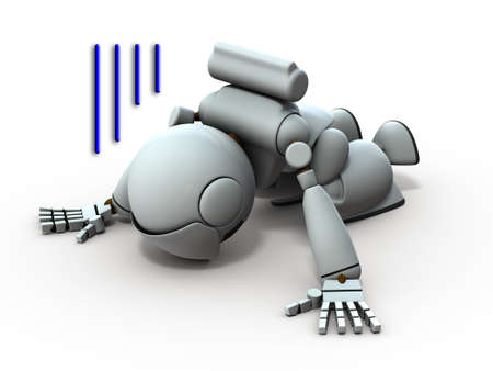 Artificial intelligence robots prostrate. He is despaired. White background. 3D illustration.