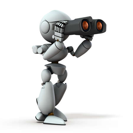 Artificial intelligence robots are looking ahead using binoculars. White background. 3D illustration.