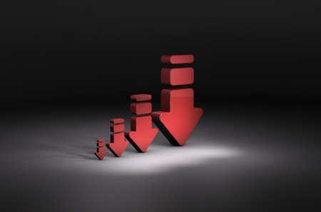 4 arrows gradually decreasing. Dark background. 3D illustration.