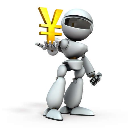 The artificial intelligence robot has a currency symbol in its hand. It represents economic control. White background. 3D illustration.