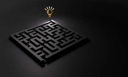A solution is waiting at the exit of the maze. Concept for problem solving. Dark background. 3D illustration.