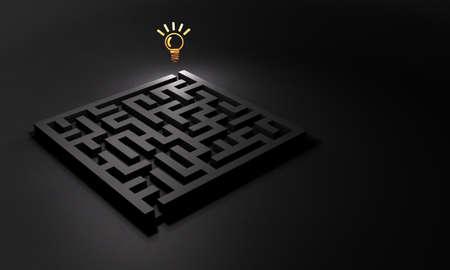Am Ausgang des Labyrinths wartet eine Lösung. Konzept zur Problemlösung. Dunkler Hintergrund. 3D-Darstellung.