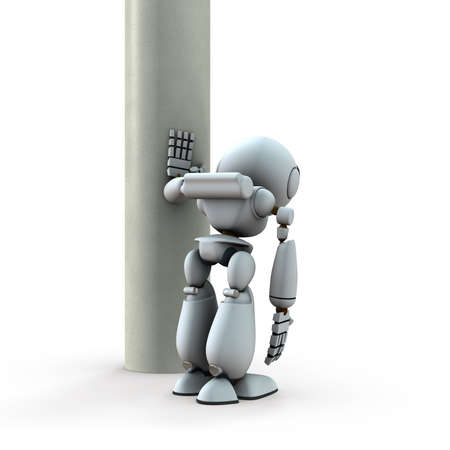 An artificial intelligence robot that leans on pillars. He is in despair. White background. 3D illustration.
