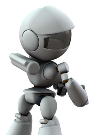 An artificial intelligence robot looking back. It contemplates wrongdoing. White background. 3D illustration.