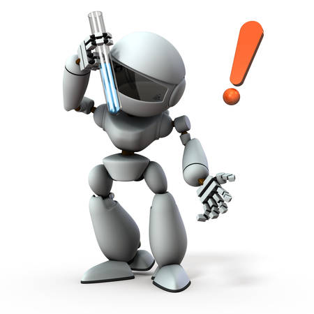 An artificial intelligence robot looking into a test tube. It is plotting something. White background. 3D illustration.