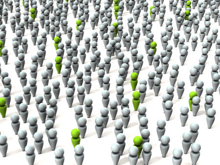 Targets who slip into a large crowd. White background. 3D illustration.