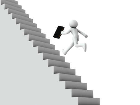 Business people running up the long stairs. Business metaphor. White background. 3D illustration.