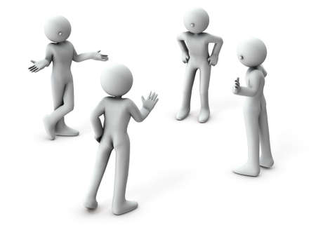 Four people are talking. There are those who are discussing, and some who are arbitrating. White background. 3D illustration.