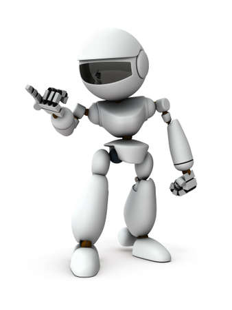 An artificial intelligence robot is pointing at someone. He is blaming. White background. 3D illustration. Stock Photo
