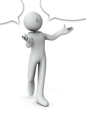 A character who enthusiastically explains. With a speech bubble. White background. 3D illustration.