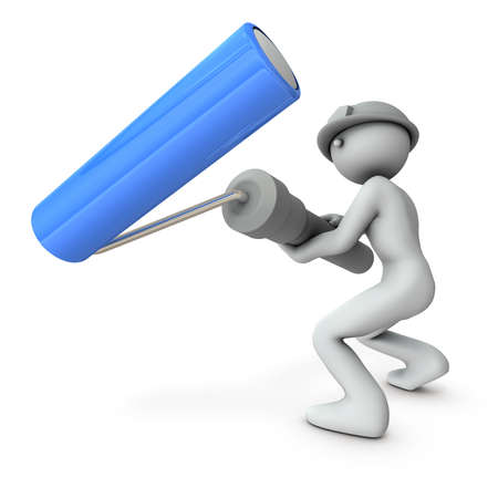 A character holding a large painting roller. White background. 3D illustration. Banque d'images