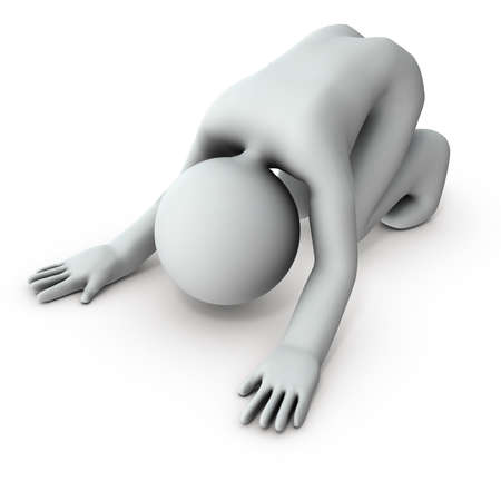 Despair and give up. A character who is crying on the floor. White background. 3D rendering. 免版税图像