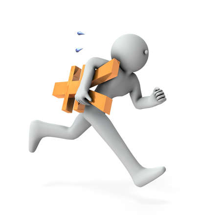 A character who runs with money. It is an abstract representing cash flow. White background. 3D illustration.