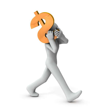 A character carrying a dollar. It represents the management of assets. White background. 3D rendering. Stock fotó