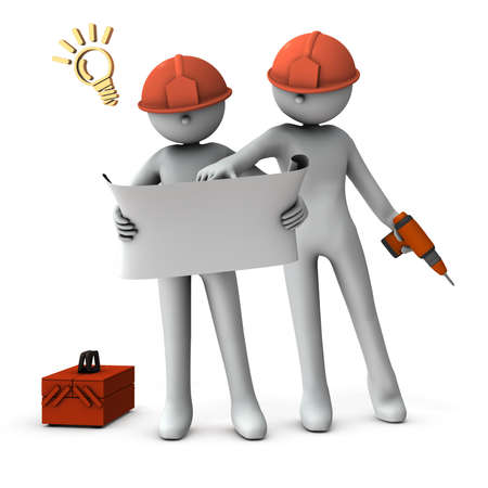 Engineers who check drawings and solve problems. White background. 3D rendering.