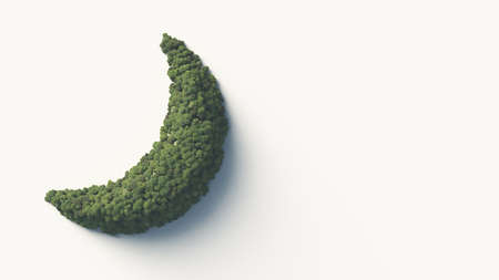 The first quarter moon shaped hill and the green forest that covers it. Play symbol. 3D rendering. Banco de Imagens
