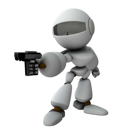 An artificial intelligence robot holding a pistol. It threatens the opponent. White background. 3D rendering.