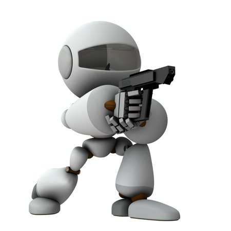 An artificial intelligence robot that stands on its knees and holds a pistol. It is aiming at the opponent accurately. White background. 3D rendering. Foto de archivo