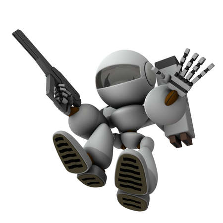n artificial intelligence robot soldier who plunges and invades. 3D rendering. White background.