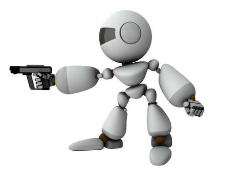 An artificial intelligence robot holding a pistol. It threatens the opponent. White background. 3D rendering. Foto de archivo