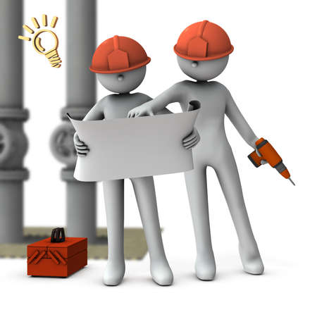 Engineers who check drawings and solve problems. White background. 3D rendering. Imagens