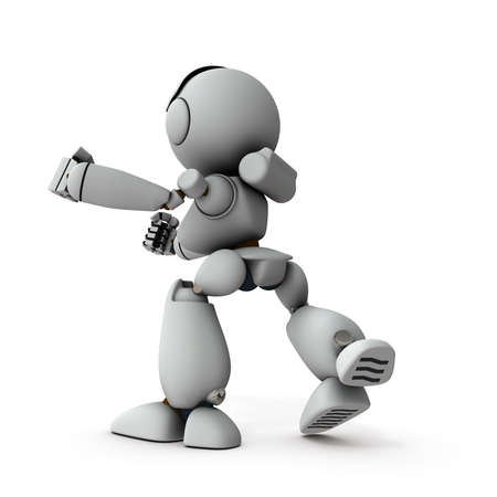 An artificial intelligence robot that takes a fighting pose.