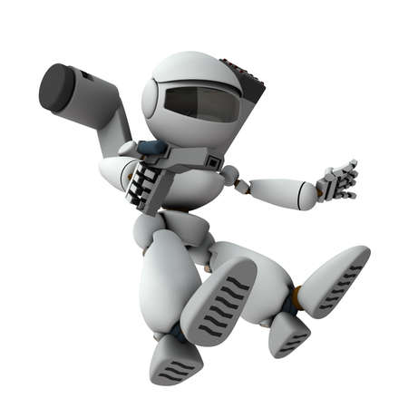 An armed robot soldier who descends and invades.