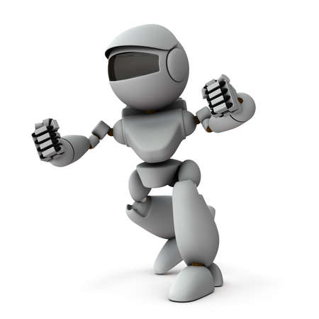 An artificial intelligence robot that takes a fighting pose. Archivio Fotografico