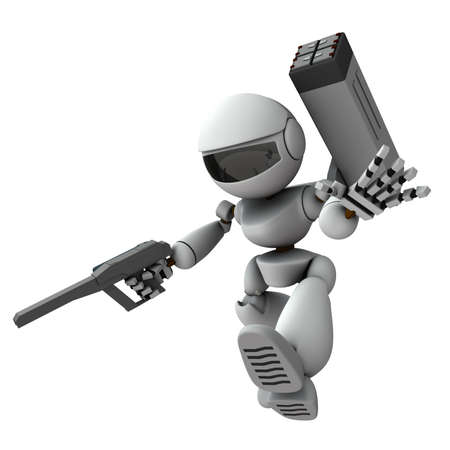 An artificial intelligence robot soldier who descends and progresses. 3D rendering. White background.