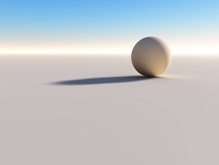 emptiness: CGI of 1 ball symbolizing lonelyness, emptiness and solitude Stock Photo