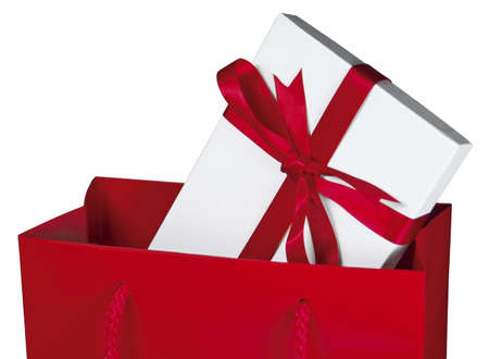 truelove: Close-up of a gift wrapped box in a red bag [Clipping Path included] Stock Photo