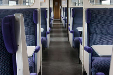 Traditional seating in a slam door train carriage, which are no longer in service.
