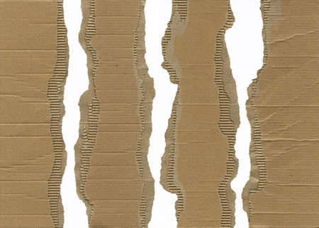 Pieces of torn brown corrugated cardboard, very detailed Stock Photo