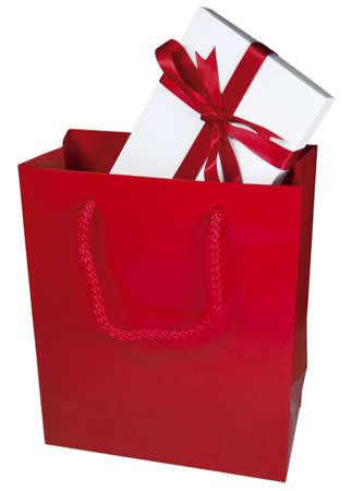 dearest: A gift wrapped box in a red bag  Stock Photo