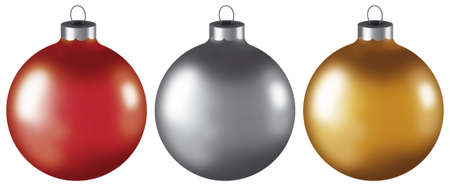 Set of three computer generated Christmas ball ornaments. Stock Photo