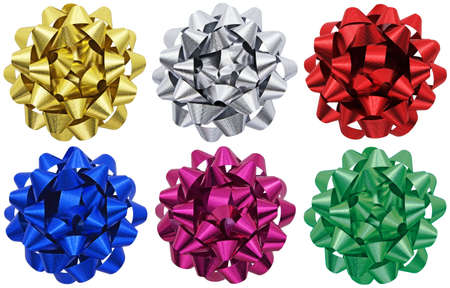 Six individual metallic gift bows isolated on a white background