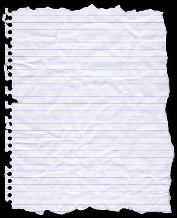 lined: A piece of torn lined writing paper from a wire bound notebook. Stock Photo