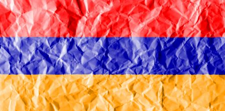 exfoliate: flag painted on crumpled paper background.